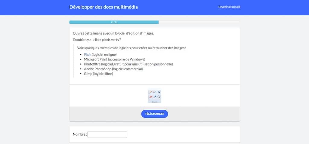 Copie d'écran d'un des exercices d'évaluation de la compétence, plateforme Pix