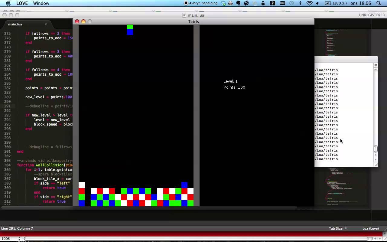 Ecran de developpement de jeu video en lua
