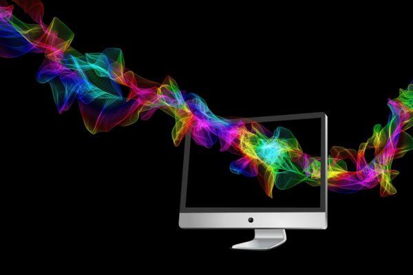 Création numérique : Un écran traversé par un ruban digital coloré